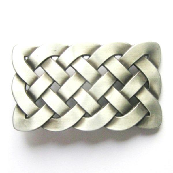 celtic knot brushed silver belt buckle