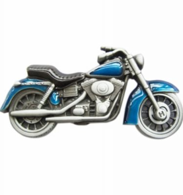 biker blue motorcycle belt buckle