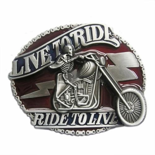 biker live to ride - ride to live belt buckle