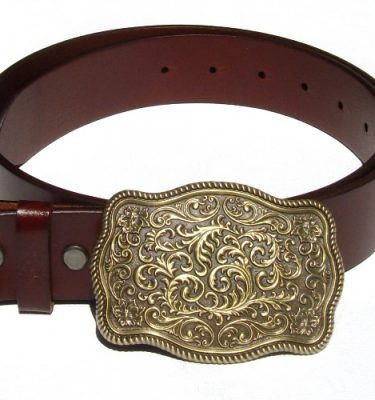 bronze plated flower pattern buckle and classic brown leather belt