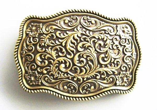 bronze plated flower pattern belt buckle