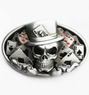 casino skull and poker belt buckle
