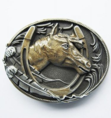 horseshoe gold enamel belt buckle