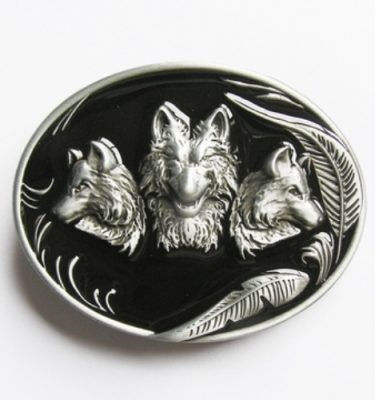 oval wolves black enamel belt buckle