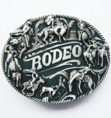 rodeo cowboy theme belt buckle