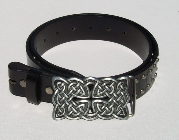 Antique Silver Cross and Circle Studded Black Belt