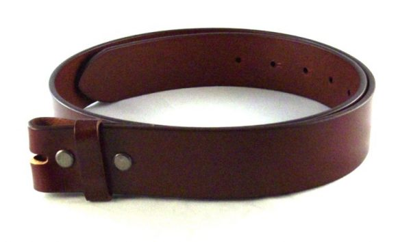 solid classic brown leather belt for removable belt buckles