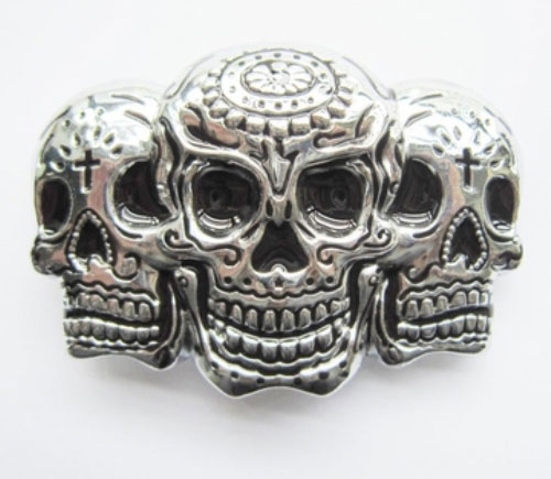 silver tattoo skulls belt buckle