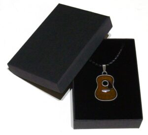 country guitar pendant with braided leather necklace with gift box