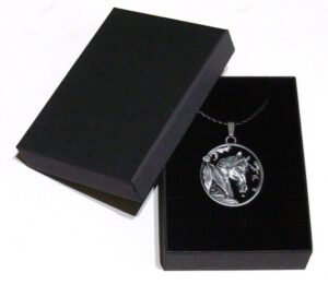 western horse pendant and braided leather necklace with gift box