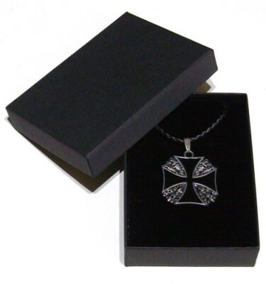 iron cross with skulls pendant and braided leather necklace with gift box