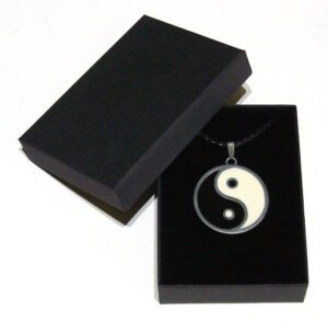 yin yang charm pendant and braided leather necklace with gift box