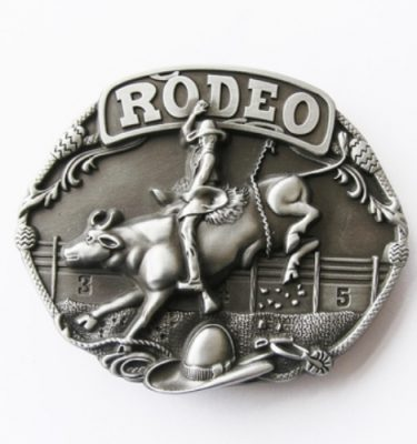 rodeo bull and rider belt buckle