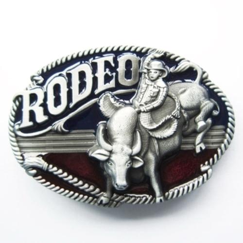 rodeo country cowboy & steer belt buckle