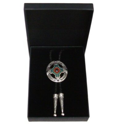 native american cross silver plated bolo tie and braided leather with gift box