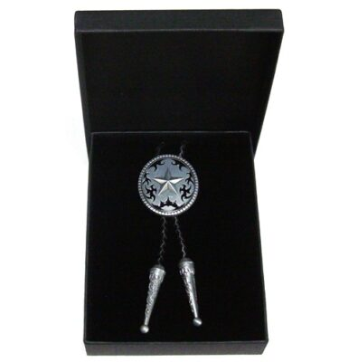 western star brushed silver bolo tie and braided leather with gift box