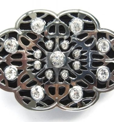 black enamel flower rhinestone belt buckle