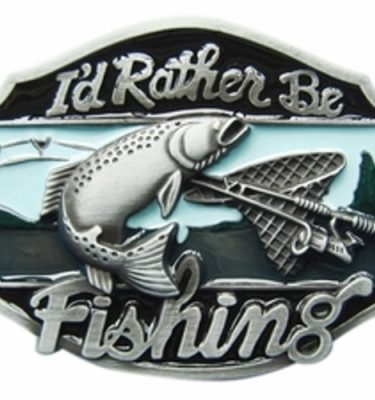 I'd rather be fishing belt buckle