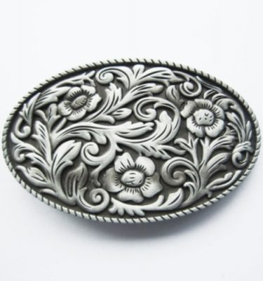 oval cowboy flower pattern belt buckle
