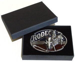 rodeo country cowboy & steer belt buckle with gift box