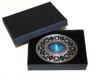 oval enamel celtic belt buckle with gift box
