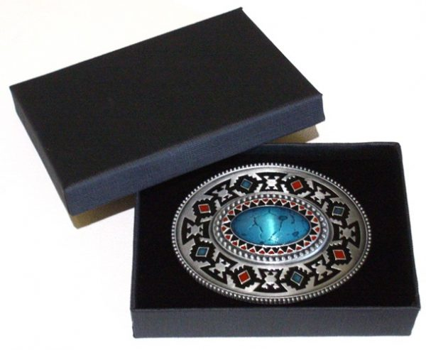 oval enamel celtic belt buckle with gift box