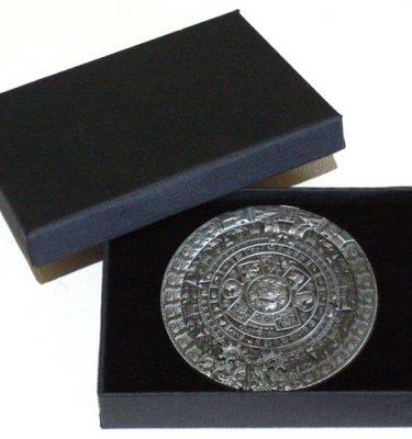round aztec calendar belt buckle with gift box