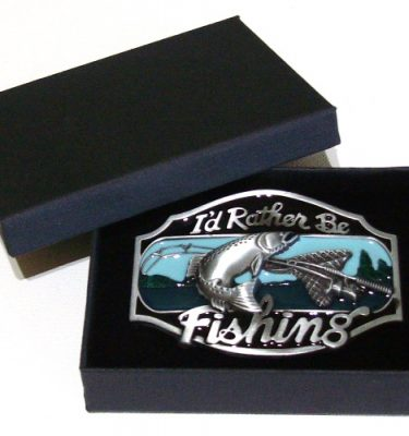 rather be fishing belt buckle with gift box