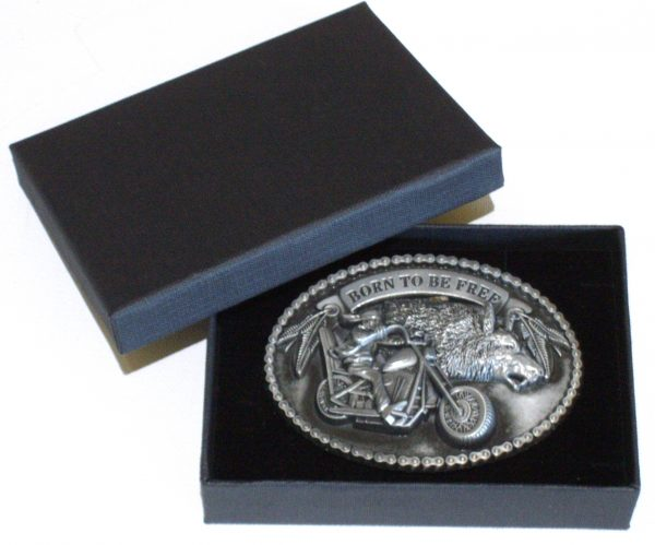 biker born to be free belt buckle with gift box