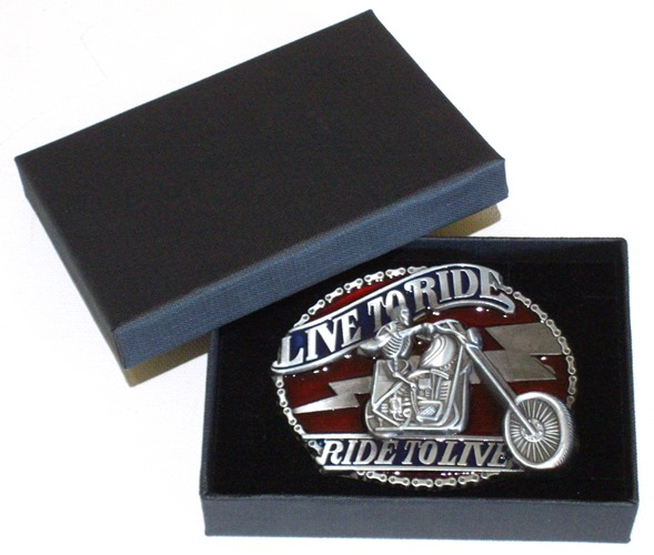 biker live to ride - ride to live belt buckle with gift box