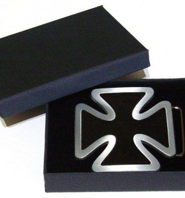 black enamel iron cross belt buckle with gift box