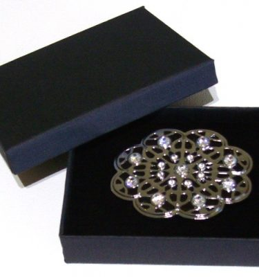 black enamel flower rhinestone belt buckle with gift box