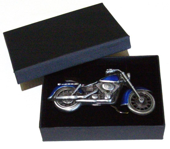 biker blue motorcycle belt buckle with gift box