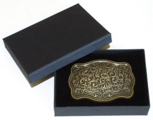 bronze plated flower pattern belt buckle with gift box