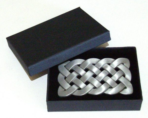 celtic knot brushed silver belt buckle with gift box