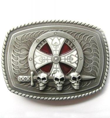 celtic shield skulls and sword belt buckle