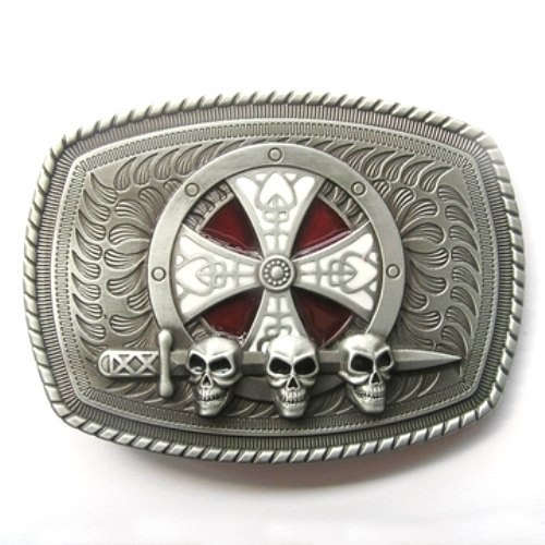 celtic shield skulls and sword belt buckle