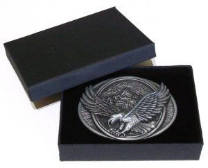 eagle in flight country belt buckle with gift box
