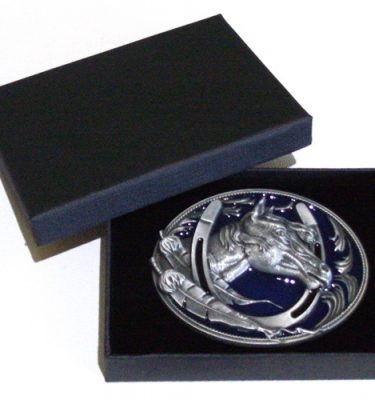 horseshoe blue enamel belt buckle with gift box