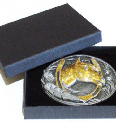 horseshoe gold enamel belt buckle with gift box