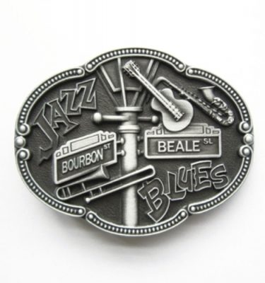 jazz and blues music belt buckle