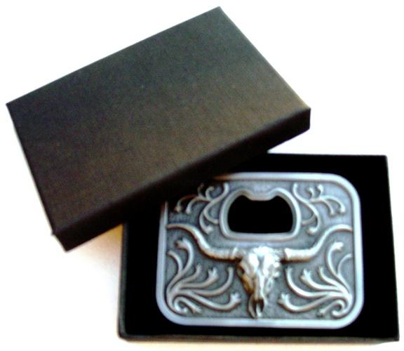 longhorn steer bottle opener belt buckle with gift box
