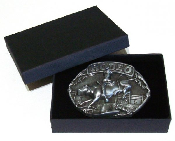 rodeo bull and rider belt buckle with gift box