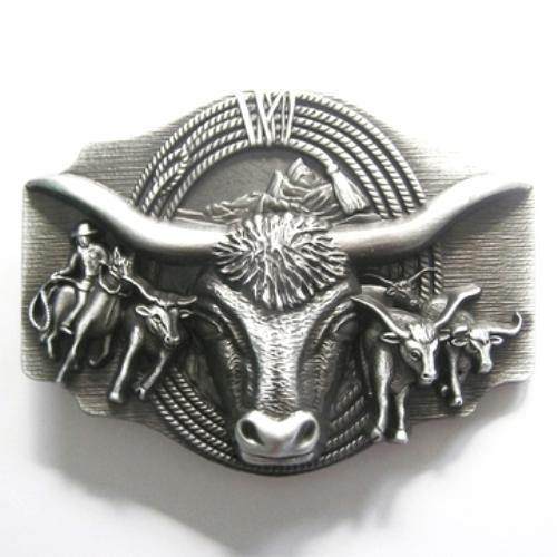 rodeo longhorn bull belt buckle