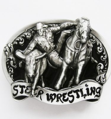 rodeo steer wrestling belt buckle