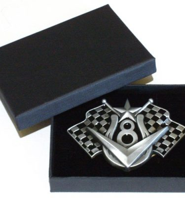 v8 chequered flags belt buckle with gift box