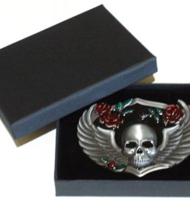 winged emo skull belt buckle with gift box