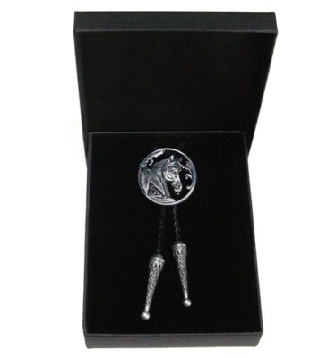 black and silver horse bolo tie and braided leather with gift box