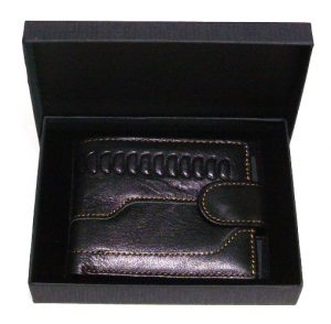 black leather wallet holds cards coins banknotes with gift box