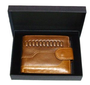 caramel leather wallet holds cards coins banknotes with gift box